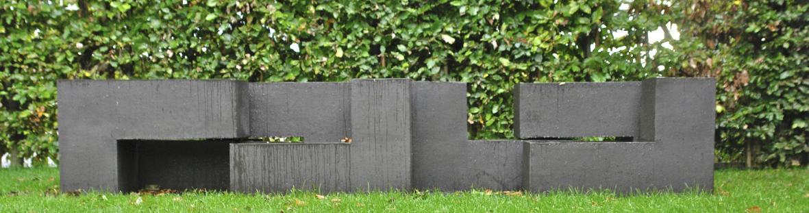 objecten in tuin, strakke blokken, 3D