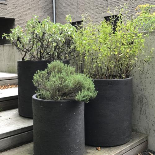potten als plantenbak, verschillende hoogtes en planten